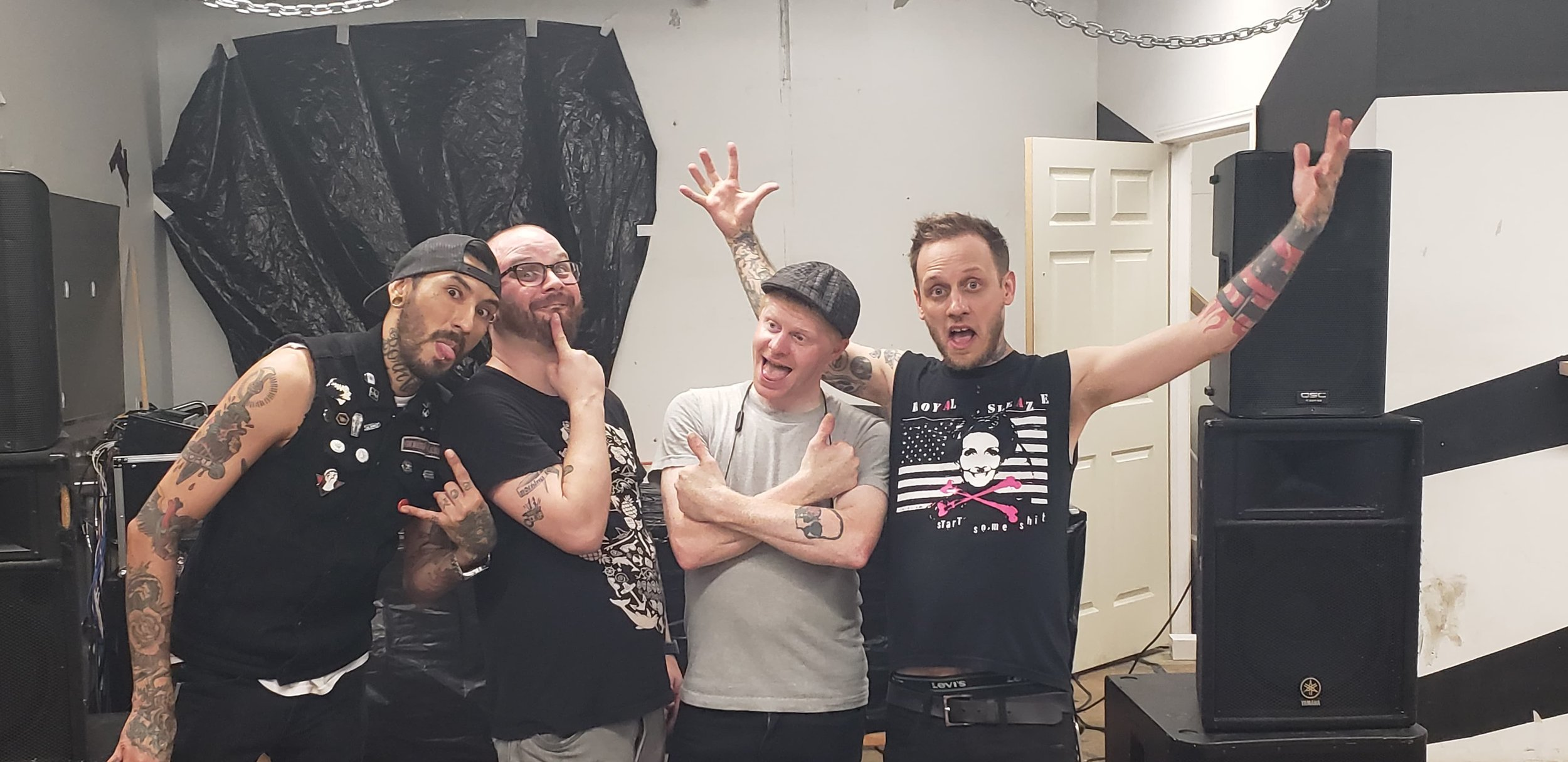 """These dudes right here make up my band """"The Revelry"""". Left to right we got Guido Crimes, Austin Mitchell, William Thomas Days the fifth, then there's me, and Jordan Leake is missing. Thankful for the dudes for making my band sound fucking killer!"""