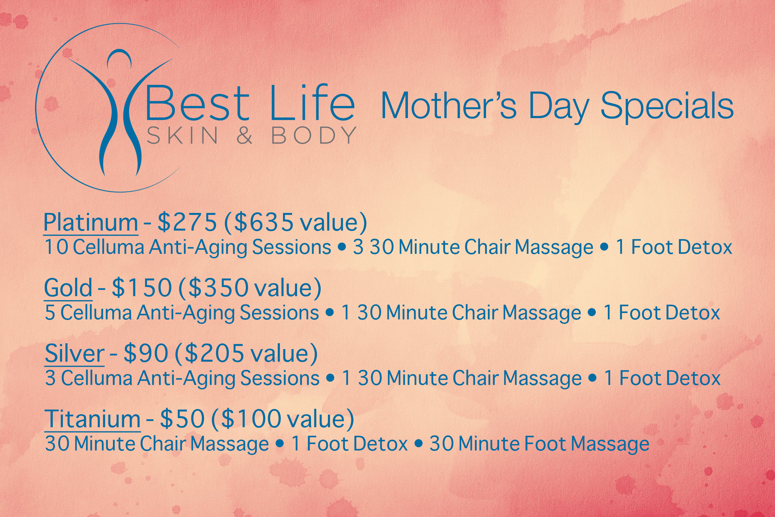 Call us 614-300-0411 to purchase a Mother's Day Package today.