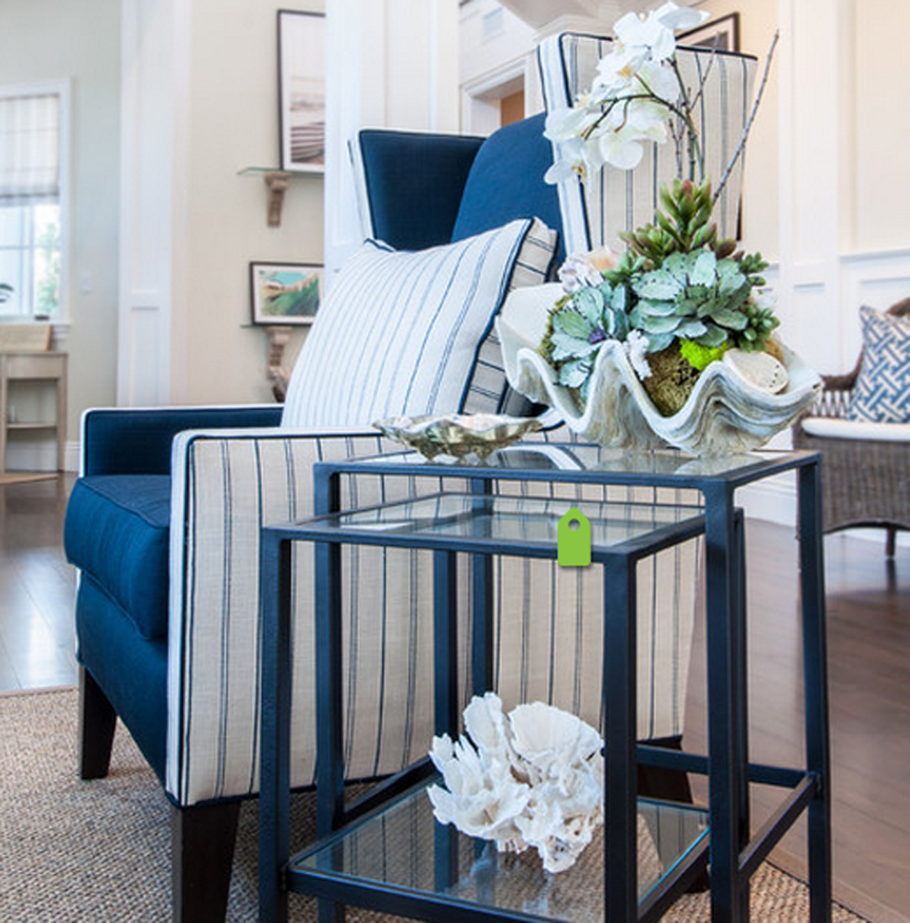 Navy & Tan  chair stackable tables.jpg