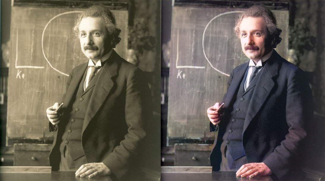 Seeing the familiar in a new light: Einstein  in color  [1]