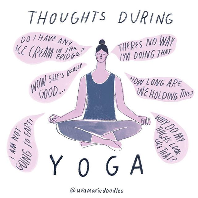"""Yes, thoughts happen. We are not robots. 🤖 Yoga doesn't poof-magic-eliminate thoughts. It can help us bring more awareness to them and then decide to pay attention to them or see them and maybe address them with a kind """"hey you (again), let's catch up after class, I'm going to breathe and move in the present now."""" Loving these illustrations. Reposted illustration from @avamariedoodles ❤️ . . . #beginneryoga #communityyogaslc #yogadrawings #yogathoughts #illustration"""