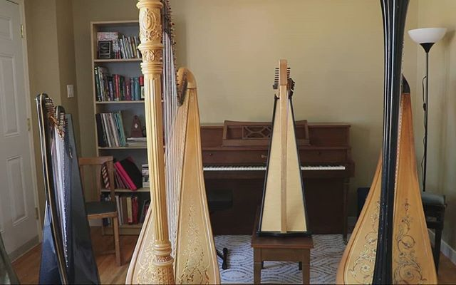I don't think I'll be able to keep up with every day of #Harpril , but here's day 2, meet my harps! From left to right: Heartland Harps Legend, carbon fibre lever harp. Bought her used for a great deal and now she's my favourite for outdoor gigs! Lyon & Healy Style 23, also bought used and she is older than me 😂 Dusty Strings Ravenna, the only one I bought new. I bought her for busking, but I got tired of it after a few summers and now mostly use her for teaching or if I need a Celtic sound on a recording. And finally, my old Venus that I don't actually know the model type for. She was my first harp that my parents bought for me, and though she's not in the best shape anymore, I'm very grateful for learning to play on this harp and I still take her out to gigs. P.S. this is a screenshot from my video of Kesha's Praying, still one of my favourite videos I've made!