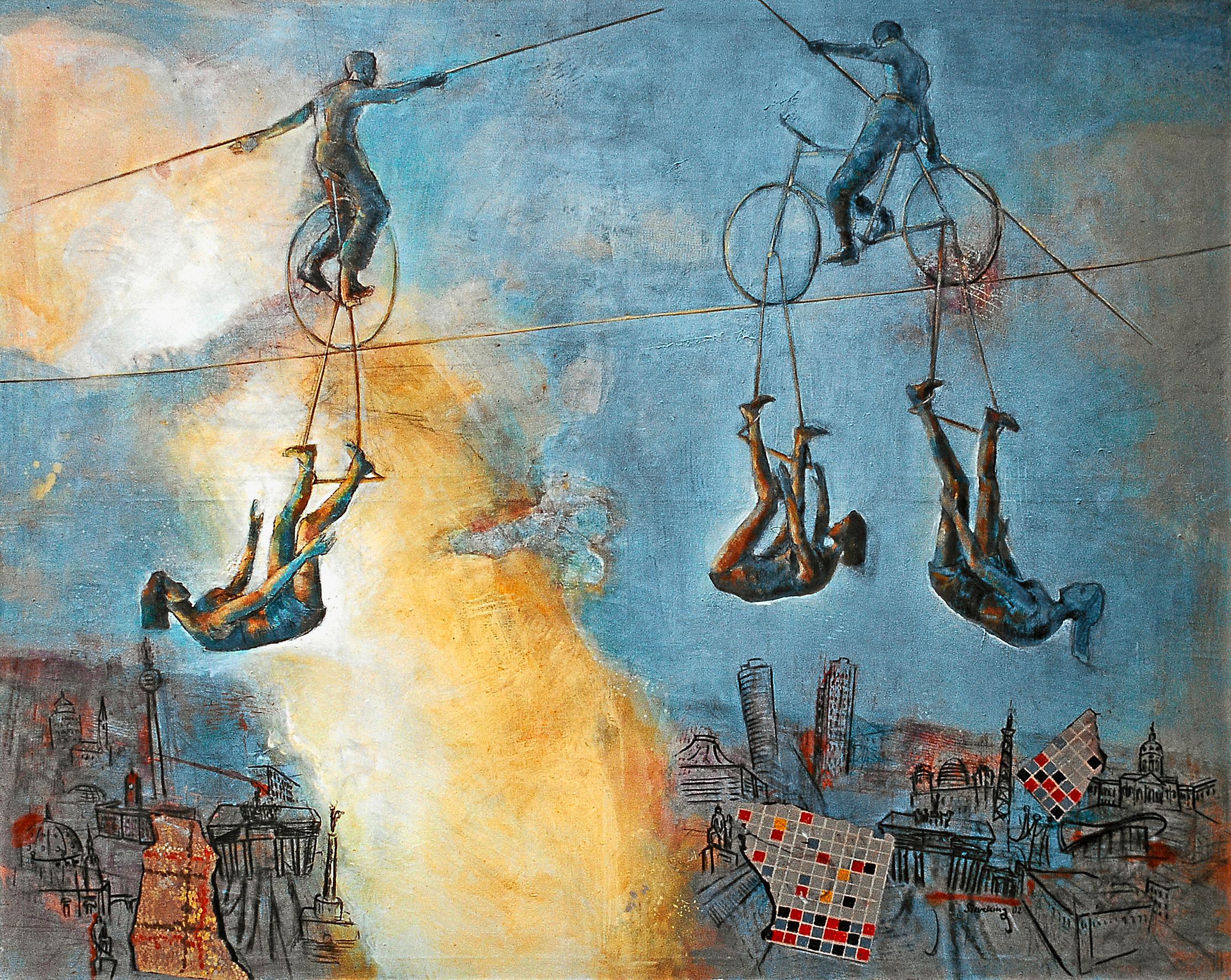 Akrobaten über Berlin - 2002, 197 x 160,Mischtechnik / Leinwand