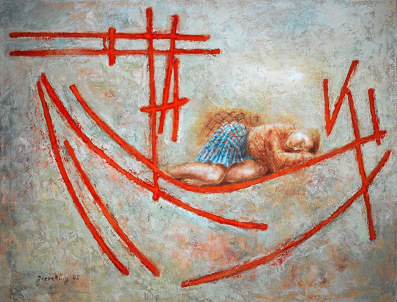 Frau auf Schiff chinesisch - 2005, 114 x 87,Mischtechnik / Leinwand