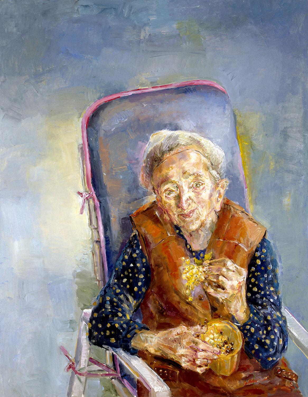 Grete mit Johannisbeeren - 1996, 80 x 100,Öl / Leinwand