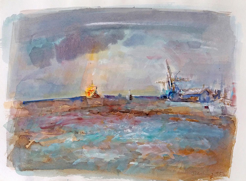 Container zum Hafen - 1995, 51 x 36,Gouache / Büttenpapier