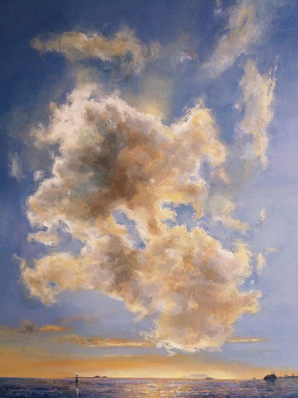 Mit Wolke - 2017, 80 x 100,Tempera / Leinwand