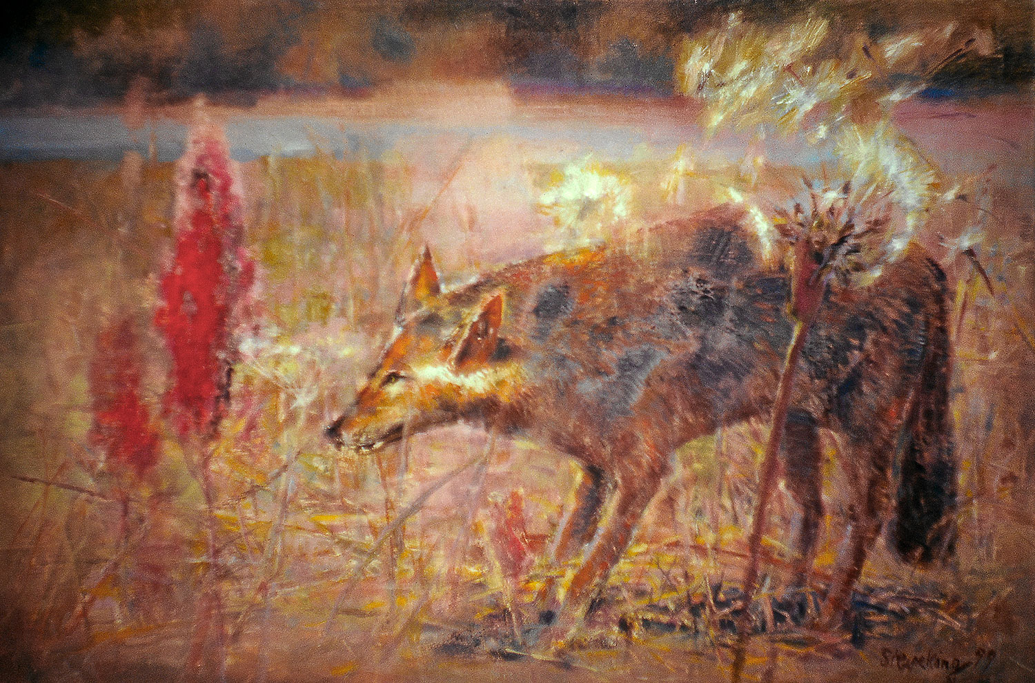 Deutscher Wolf - 1999, 210 x 80,Tempera / Leinwand