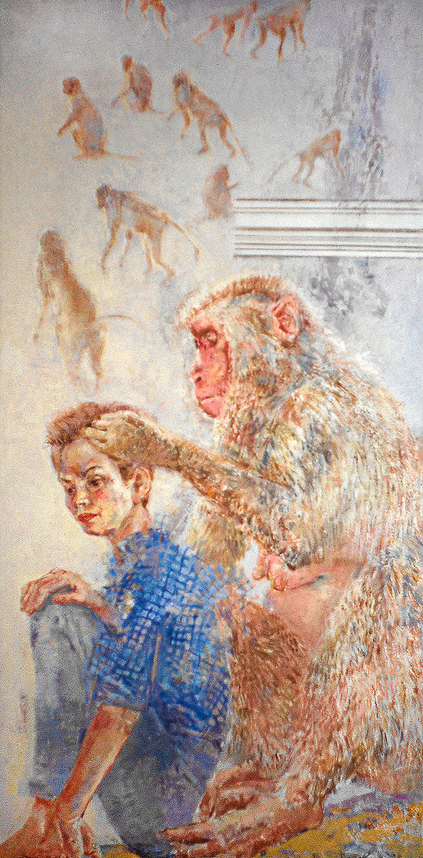 Mich laust der Affe - 1998, 80 x 170,Tempera / Leinwand
