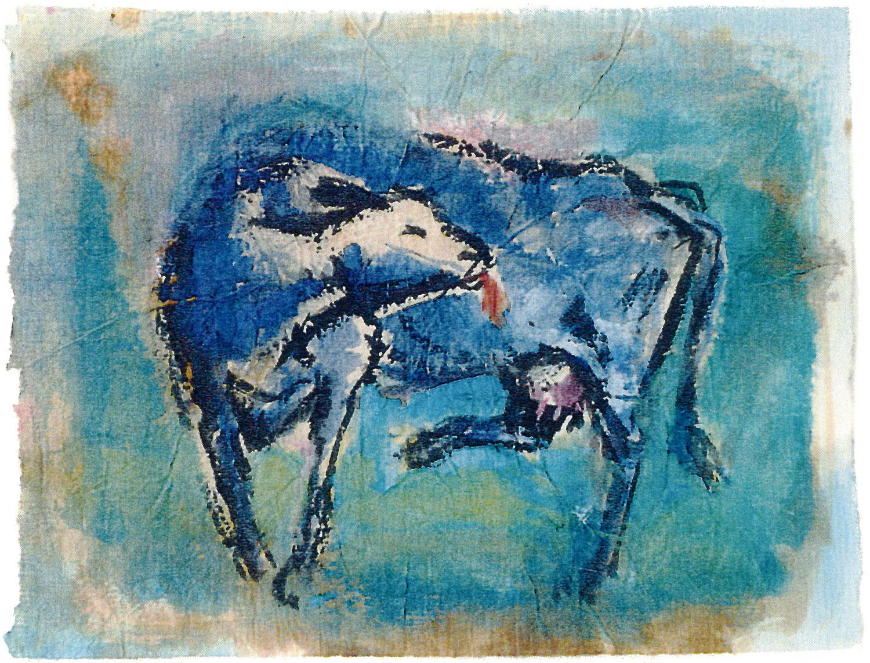 Die blaue Kuh - 2005, 30 x 20,Aquarell auf Linoldruck