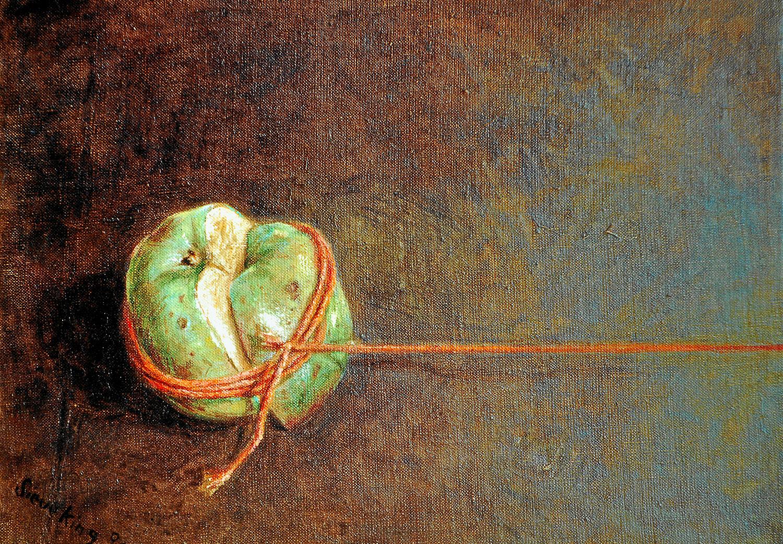 Geteilter Apfel - 1991, 40 x 30,Mischtechnik / Leinwand