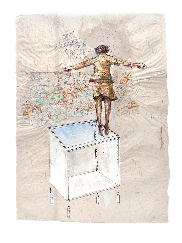 Gebrauchsanweisung 1 - 2011, 54 x 74,Tusche, Collage / Chinapapier