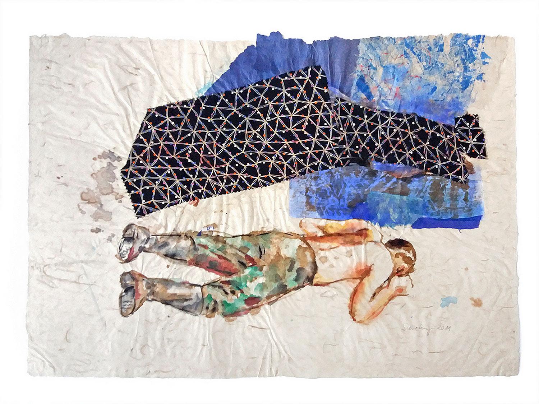 Schlafender Soldat vor Blau - 2011, 74 x 54,Tusche, Collage / Chinapapier