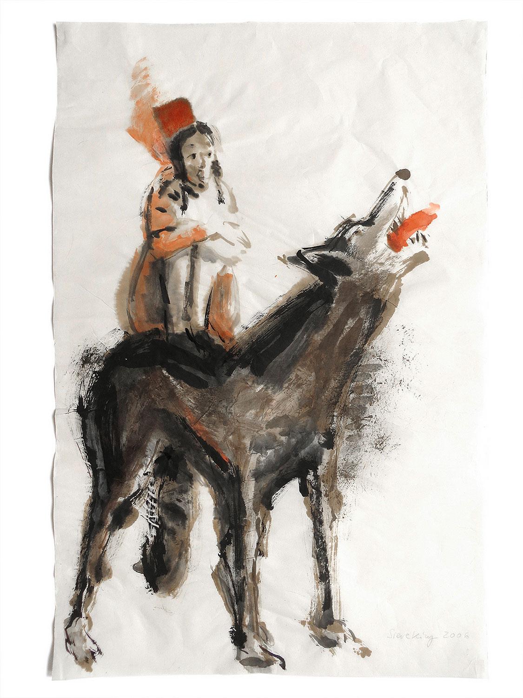 Rotkäppchen auf Wolf - 2006, 40 x 60,Tusche / Chinapapier