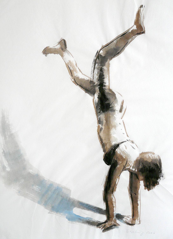 Handstand - 2016, 30 x 45,Tusche / Bütten