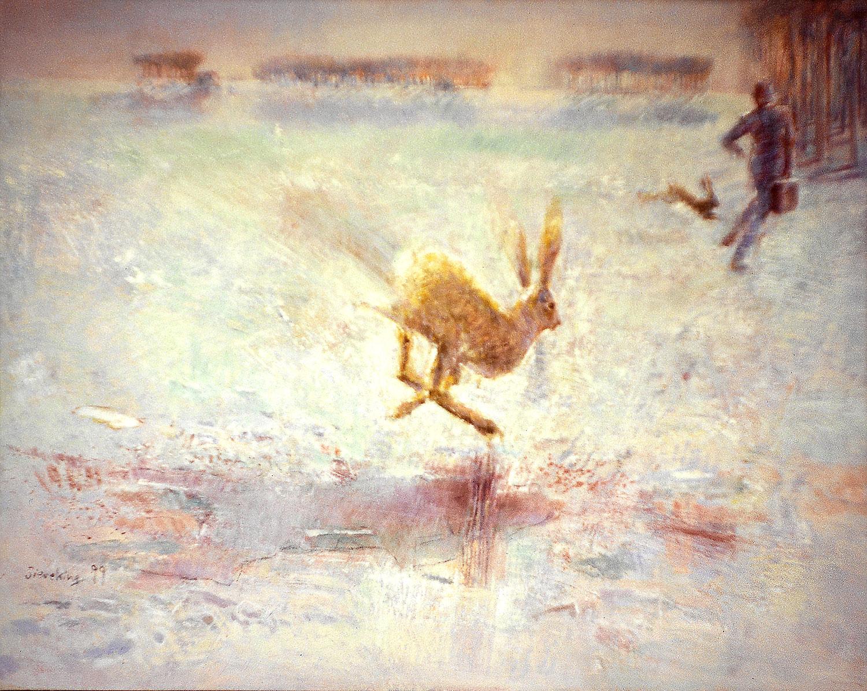 Hasenjagd - 1999, 120 x 95,Tempera / Leinwand