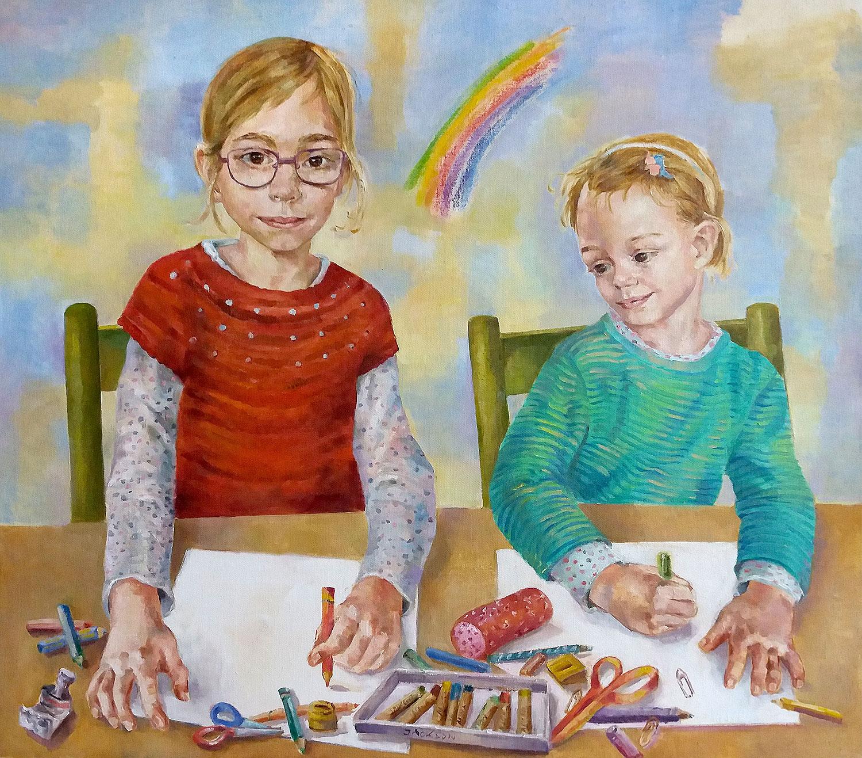 Maja und Milla - 2019, 110 x 100,Öl / Leinwand