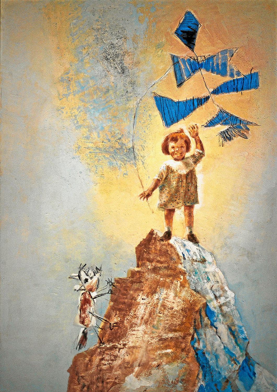 Kindheit 2 - 2003, 70 x 100,Tempera / Leinwand