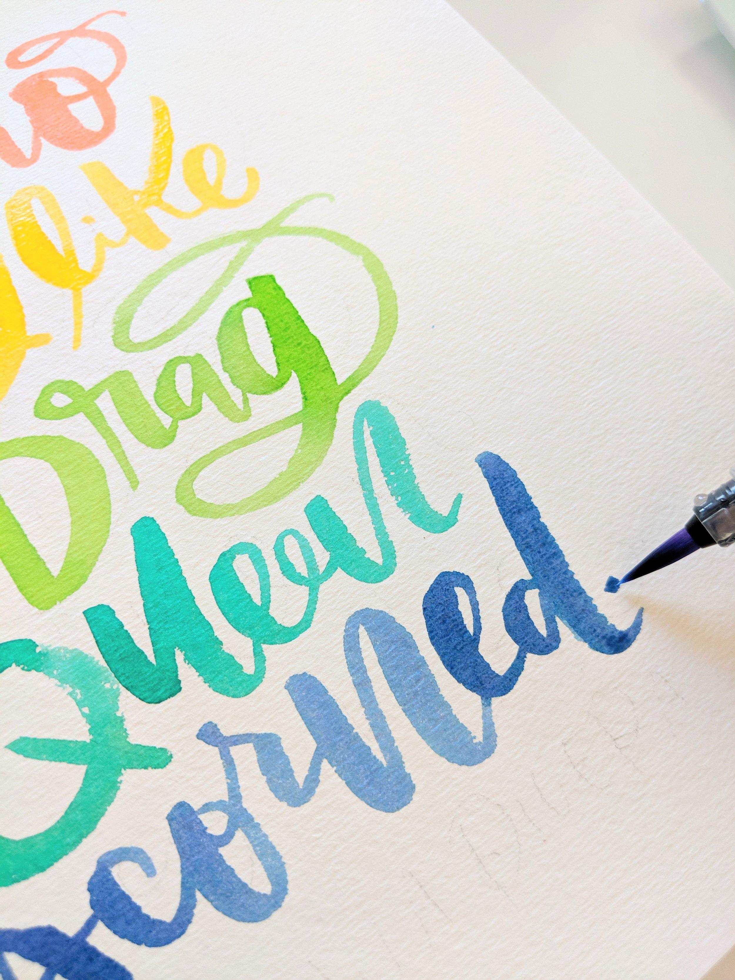 PRIDE Quote Watercolor Tutorial - Brush Calligraphy