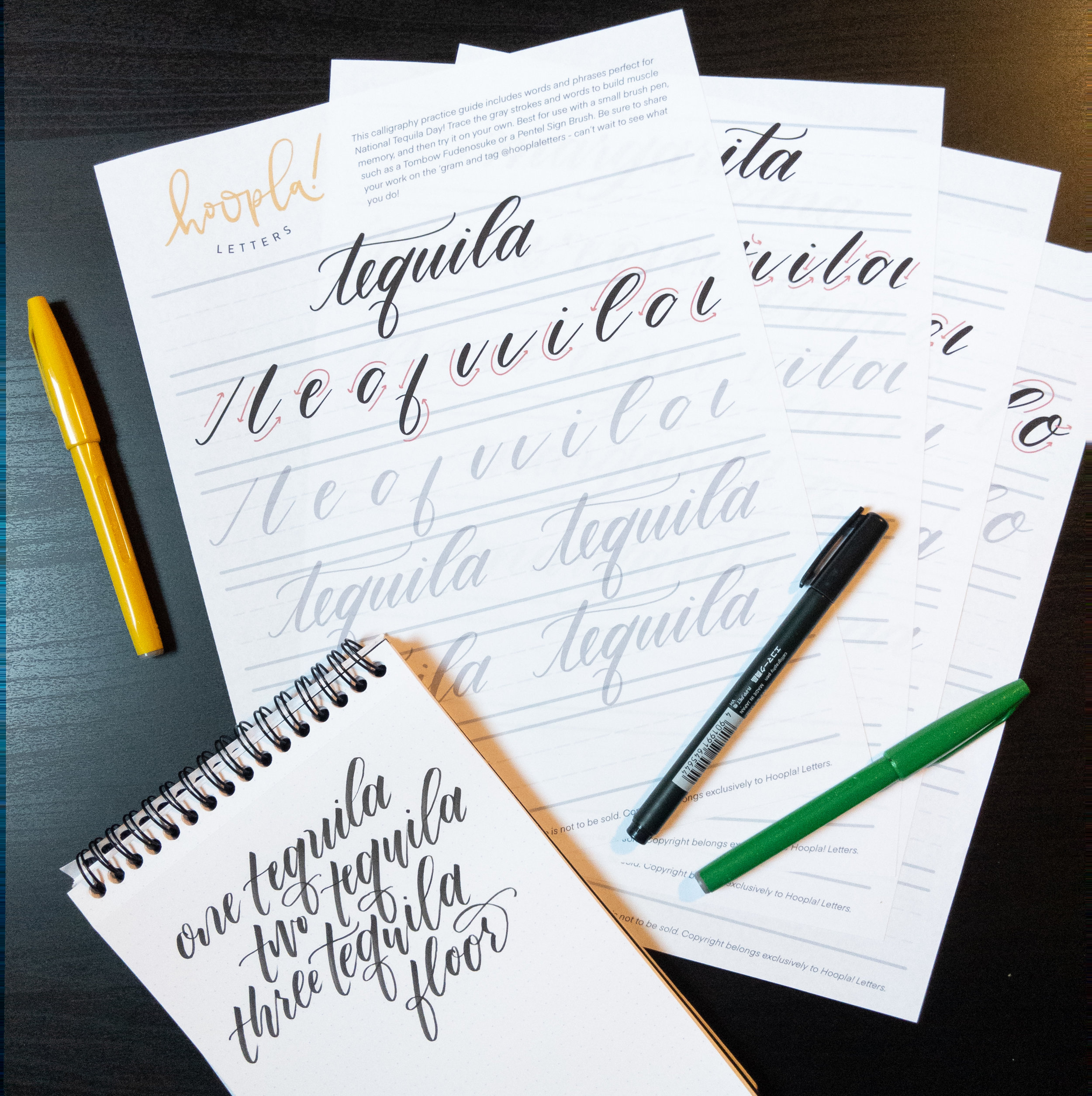 Tequila-Themed Calligraphy Practice Mini-Workbook | Hoopla! Letters