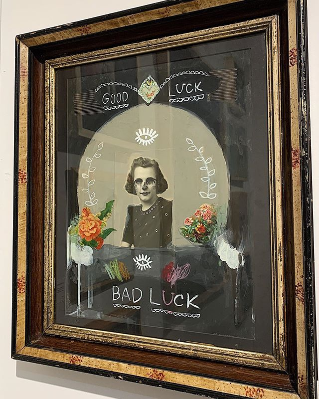 """. """"All Our Luck"""" 18""""x 22"""", acrylic, pastel and collage. Antique frame with glass. . #joypatrice #analogcollage #collage #asemicwriting #markmaking #abstractart #womenartists #abstractpainting #mixedmedia #mixedmediaart #mixedmediacollage #mixedmediaoncanvas #modernart #milwaukeeartist #originalart #autodidacticartist #vintagephoto #vintageephemera #vintagephoto #theotherartfair #saatchiart"""