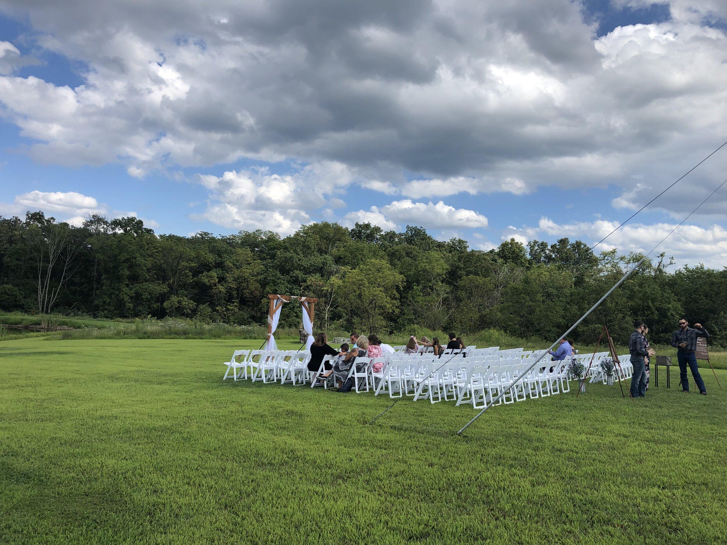 Ceremony Setup at Barn at Lone Eagle Landing