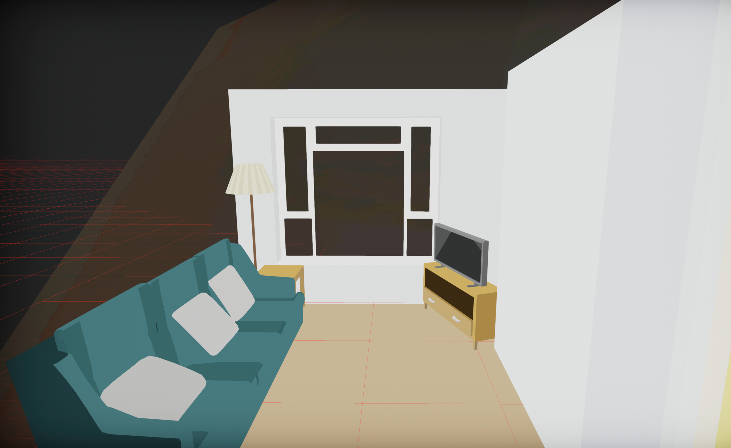 Living room in game