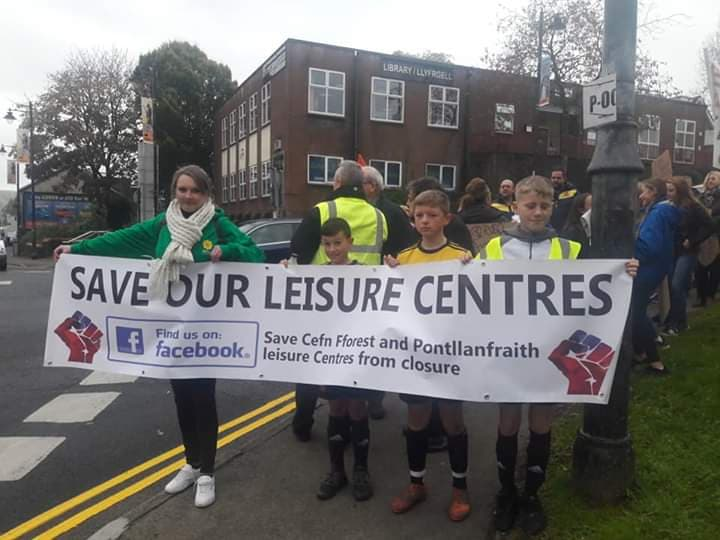 The football team marching in Blackwood to save the leisure centre. Photo Courtesy Dean Jones