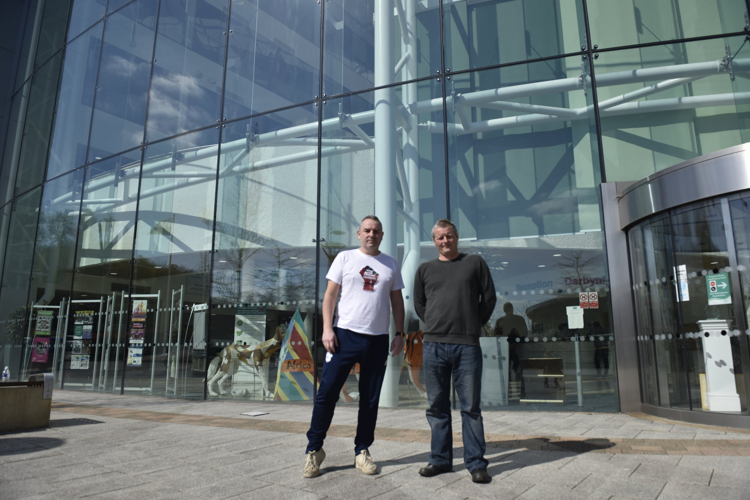 Shane Williams and Dean Jones outside Caerphilly County Borough Council Offices
