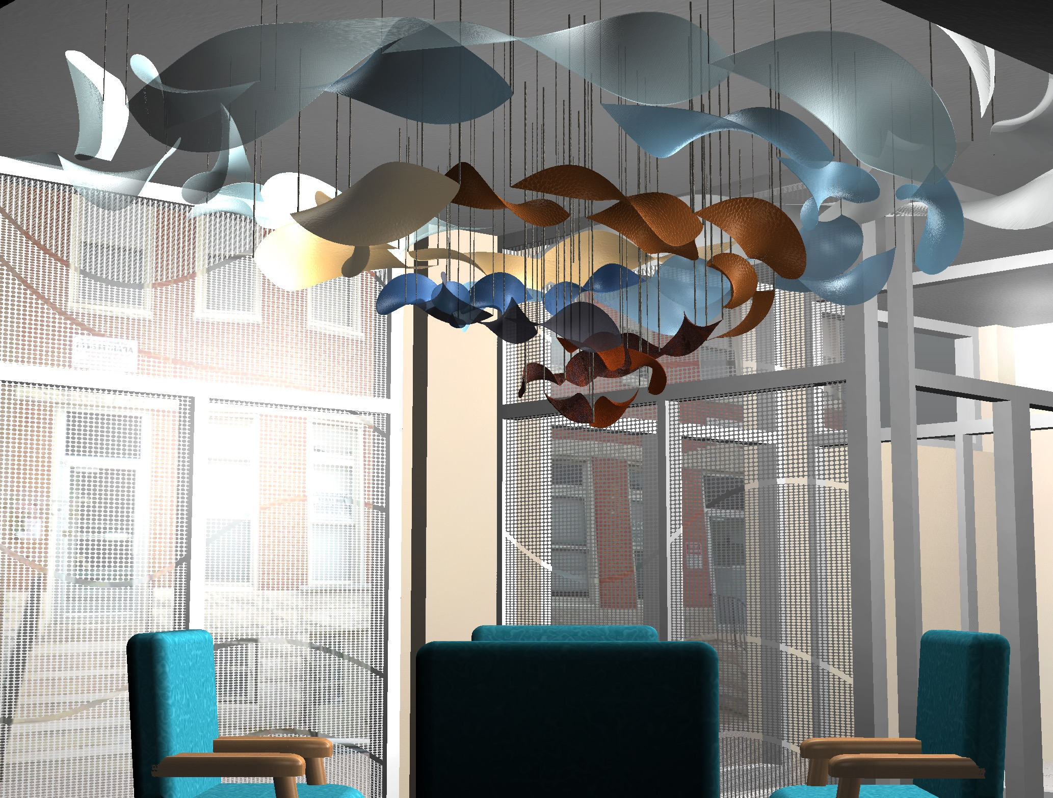 Two spirals — one steel, aluminum, and copper, the other blue-dyed silk and rayon — spin out from the center of the room, suspended by steel wire.