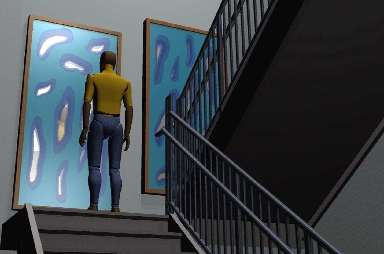 The team generated several proposals and accompanying renderings. One favorite, which was not constructed, is this silk-shrouded mirror in a stairwell used by aggressors on their way to a rehabilitation program.