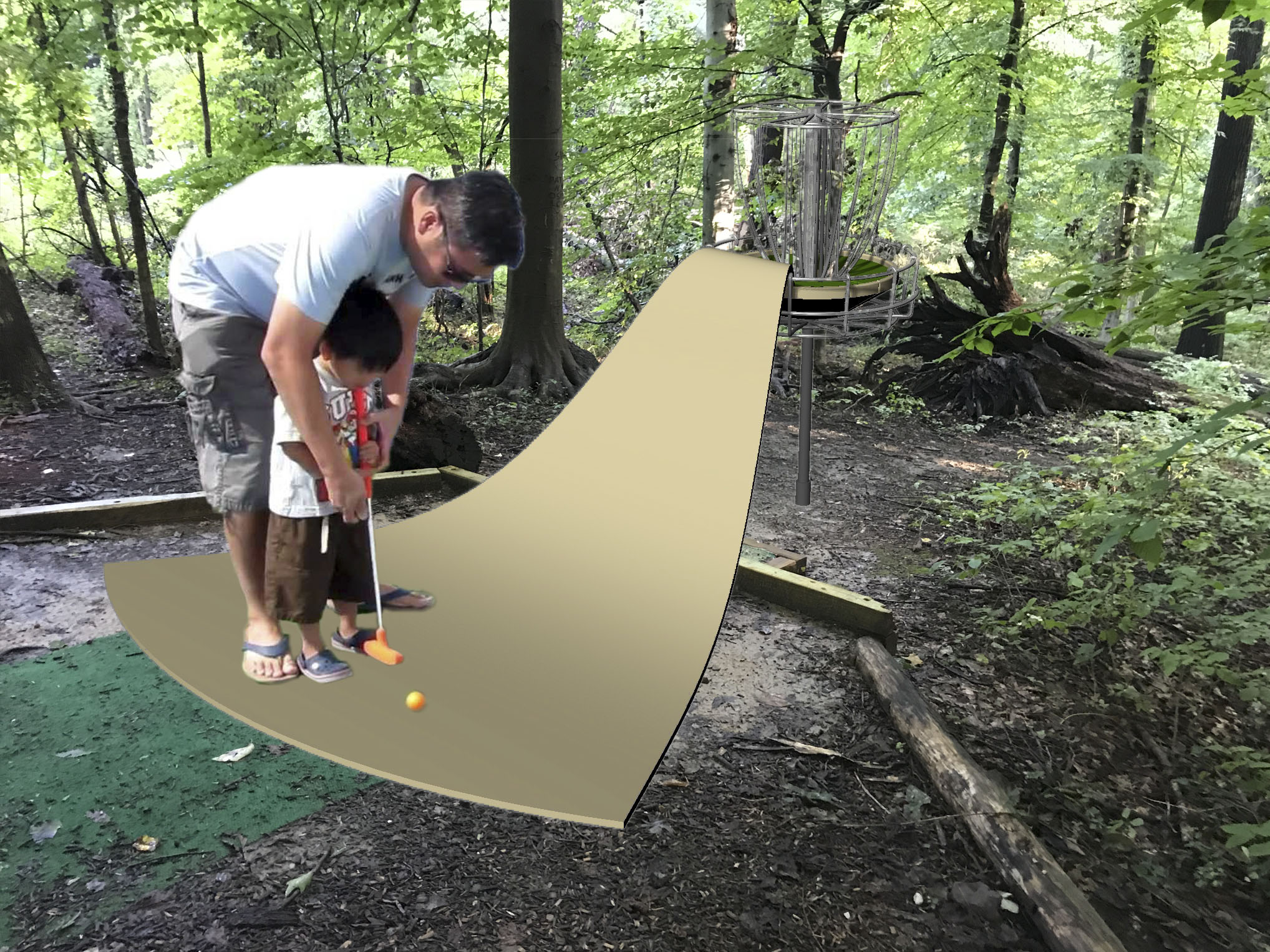 While brainstorming ways to disrupt the space, Carlson and Jeon considered transforming it into a mini-golf course.