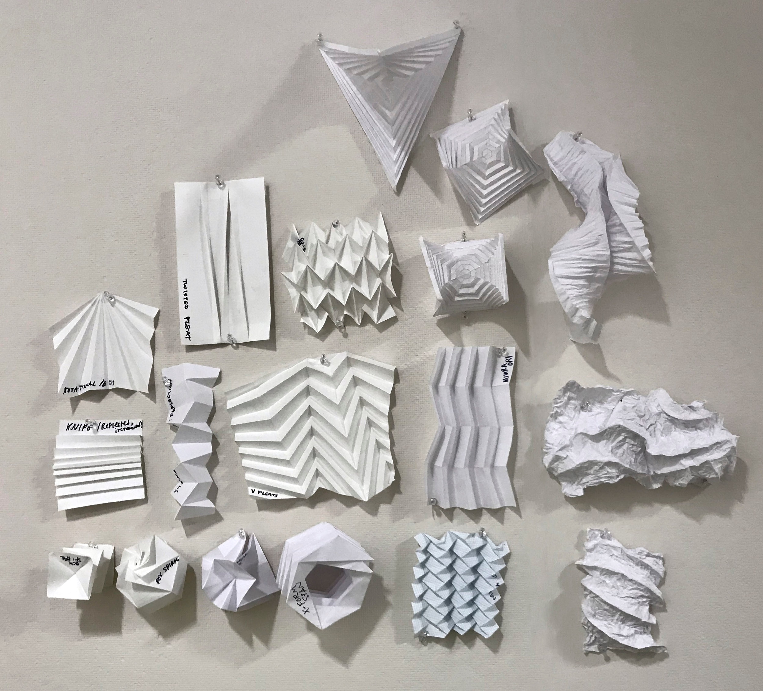 Tesselated paper tests based on Paul Jackson's  Folding Techniques for Designers .