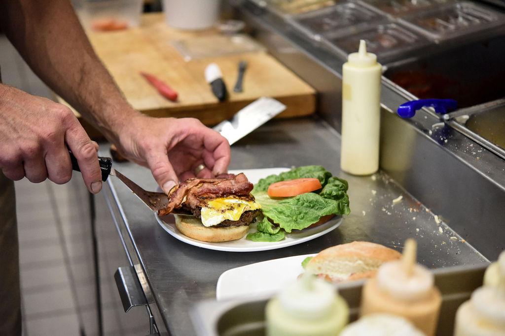 Thriving Thistle Bistro Burger Prep