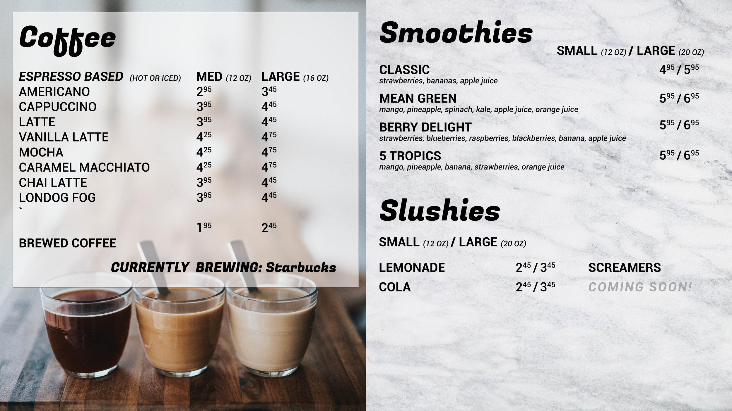 Red Deer Freshly Bistro Menu Coffee Bubble Tea