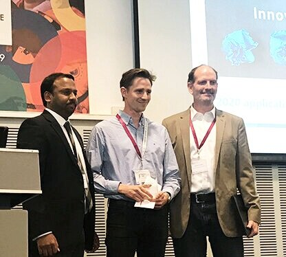 Left to right: Dr. Sundeep Chaitanya, Director of Research & Innovation, American Leprosy Missions; Mr. Joseph Pryce, Liverpool School of Tropical Medicine, 2019 NTD Innovation Prize winner; Mr. Darren Schaupp, Vice President of Programs, American Leprosy Missions