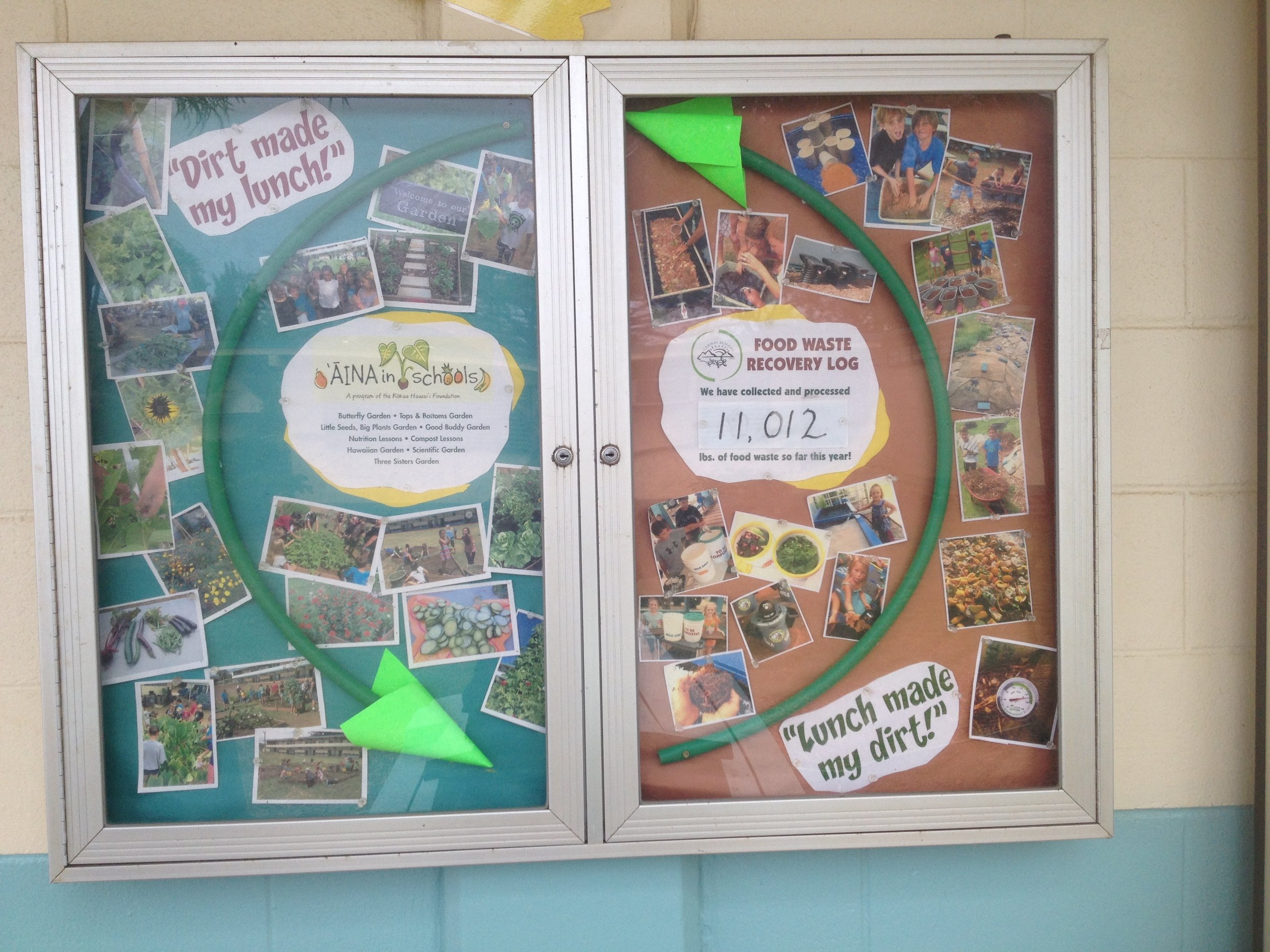 Photo: Lanikai Elementary School Food Waste Recovery Log as of March 2016, over 11,000 pounds of food waste recycled!