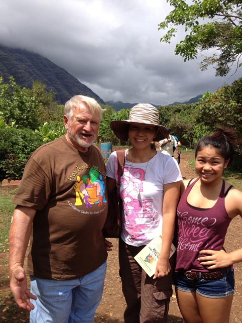 Office manager Chikako & Karina with Hoa Aina O Makaha's founder Father Luigi (Gigi).