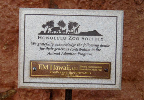 EM HAWAII, LLC has also been officially recognized by the Honolulu Zoo Society's Animal Adpotion Program as the ZooParent for the Hippopatamus exhibit since 2007.