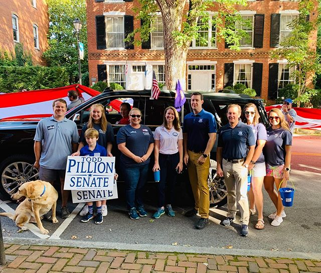 Riley Dog's first parade with a great team #wamplerfordelegate #oquinn #pillion
