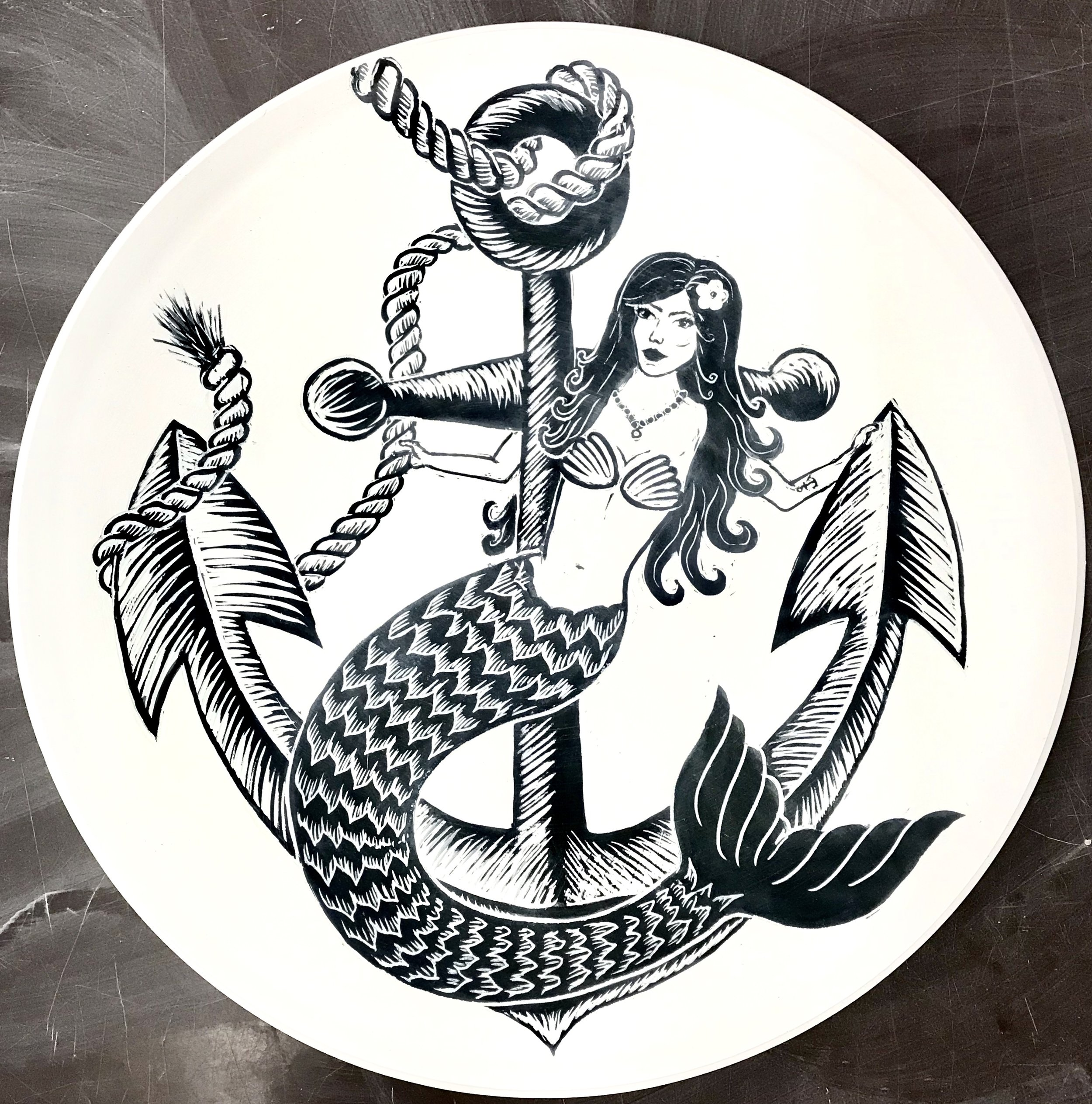 Mermaid on Anchor Platter