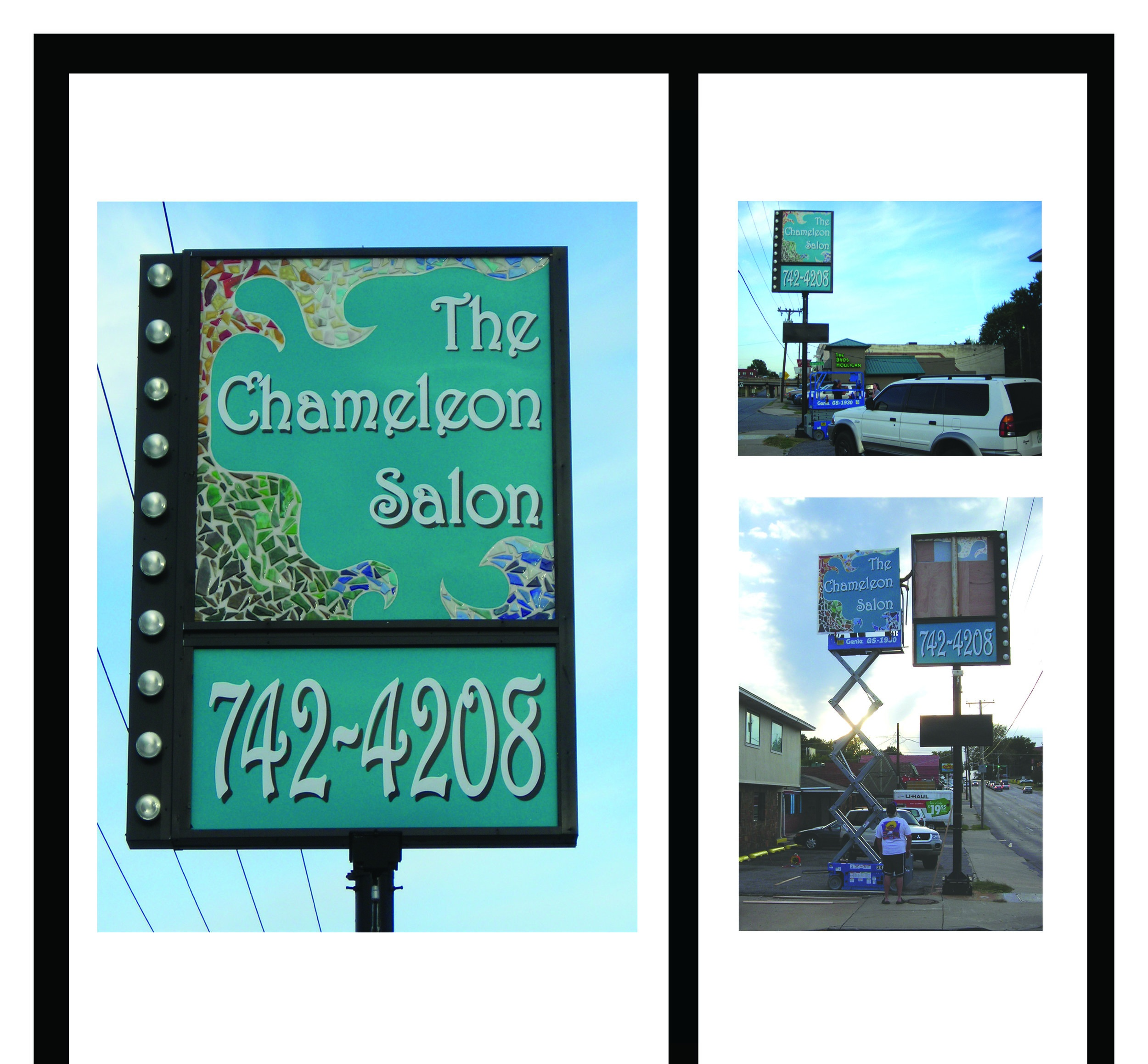 Janessa Bookout created a custom mixed media sign and interior decor for Chameleon Salon in Tulsa, OK 2006.