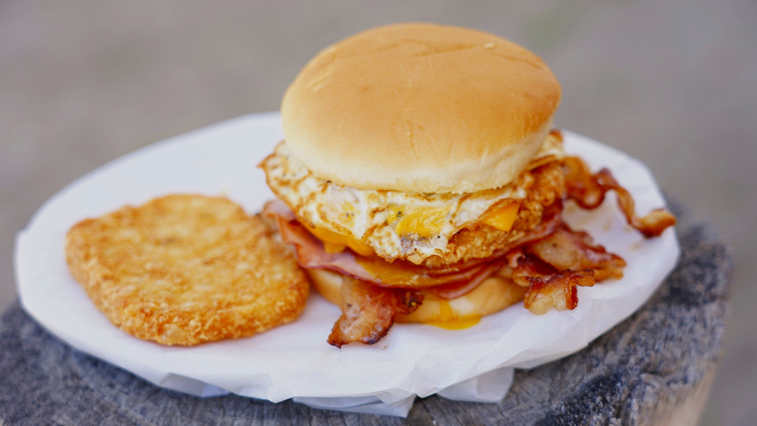 Breakfast Sandwiches - Breakfast Sandwiches served till 12:00 noon.Bacon, egg and cheese.....$4.00Ham, egg and cheese.......$3.25Bacon, ham, egg and cheese.....$4.25Add ons: $.30 for extra cheeseAdd ons: $1.50 extra bacon or ham