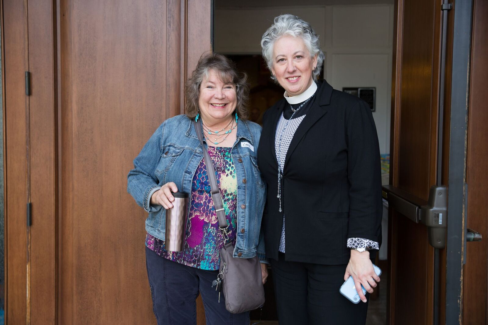 The Rev. Jill Honodel with parishioner Carol Richardson.
