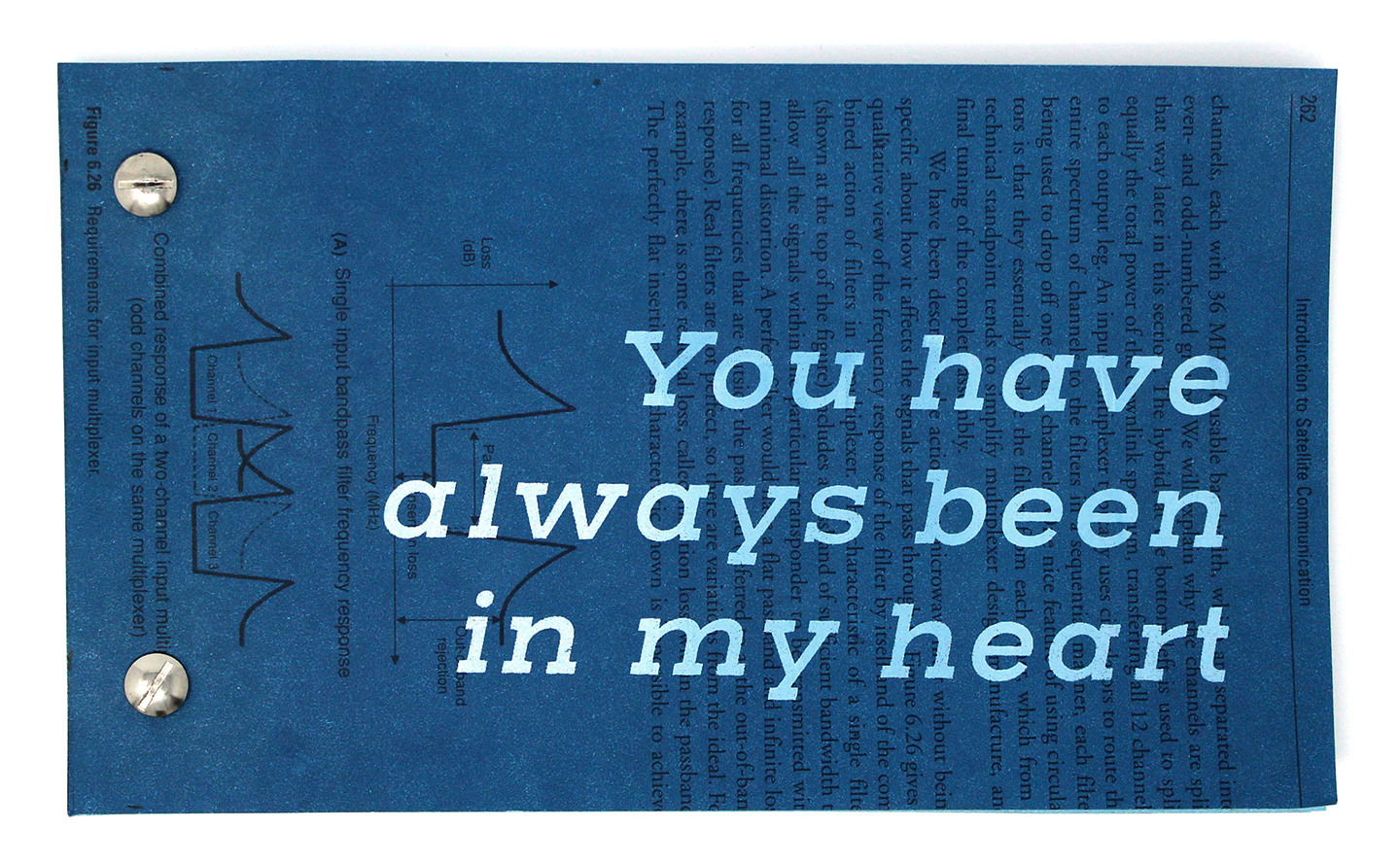 You Have Always Been in My Heart  is a book for and about the sky. It was created from a satellite communications book discarded from the Universidad Pelitecnica de Valencia-Facultad de Bellas Artes in Valencia, Spain. It was on view at Libros Intervenidos, an exhibition at the IMPACT conference Sept. 1-9, 2018 in Santander, Spain.