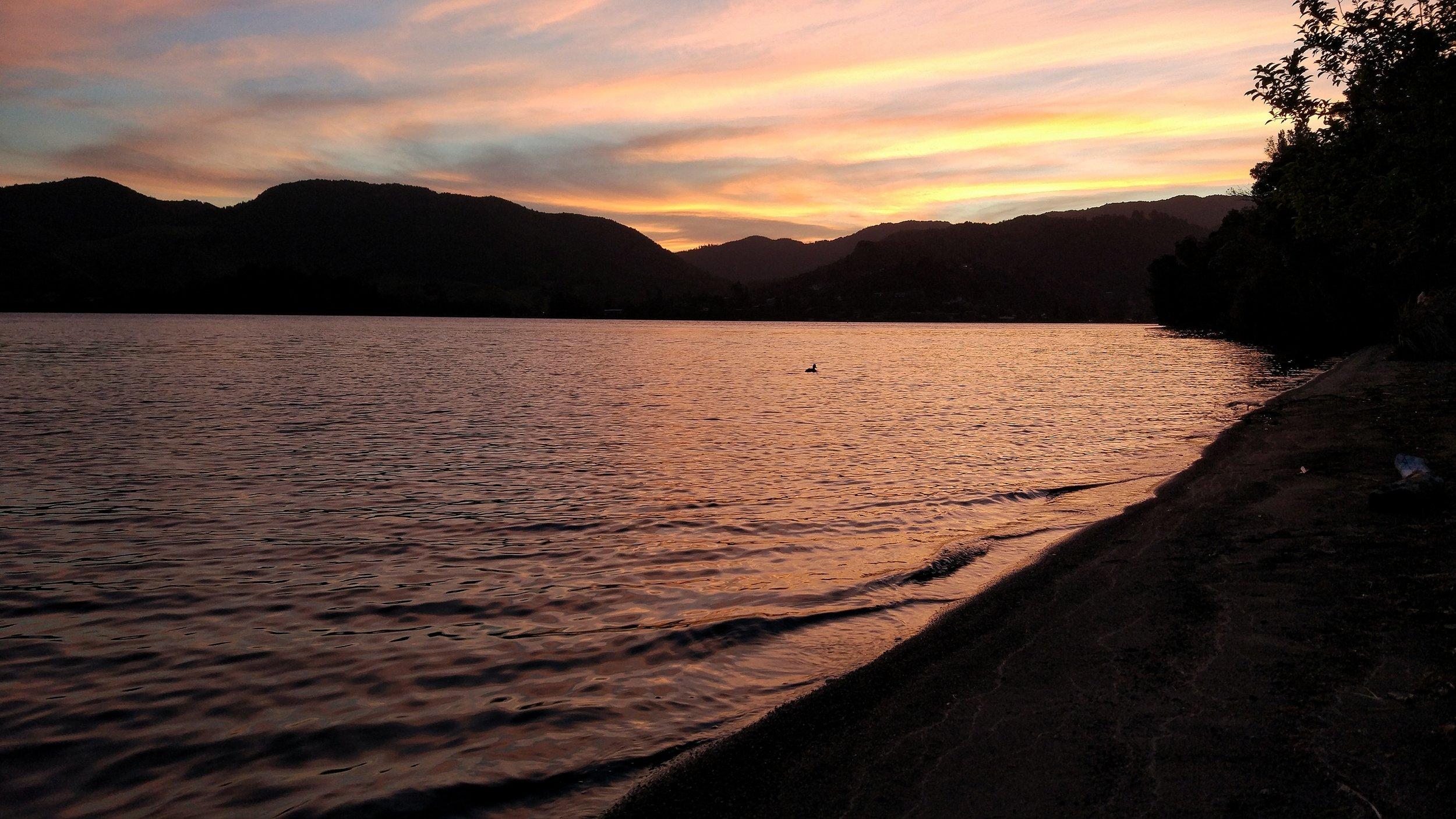 sunset for dinner, lake okareka campsite, rotorua, New Zealand