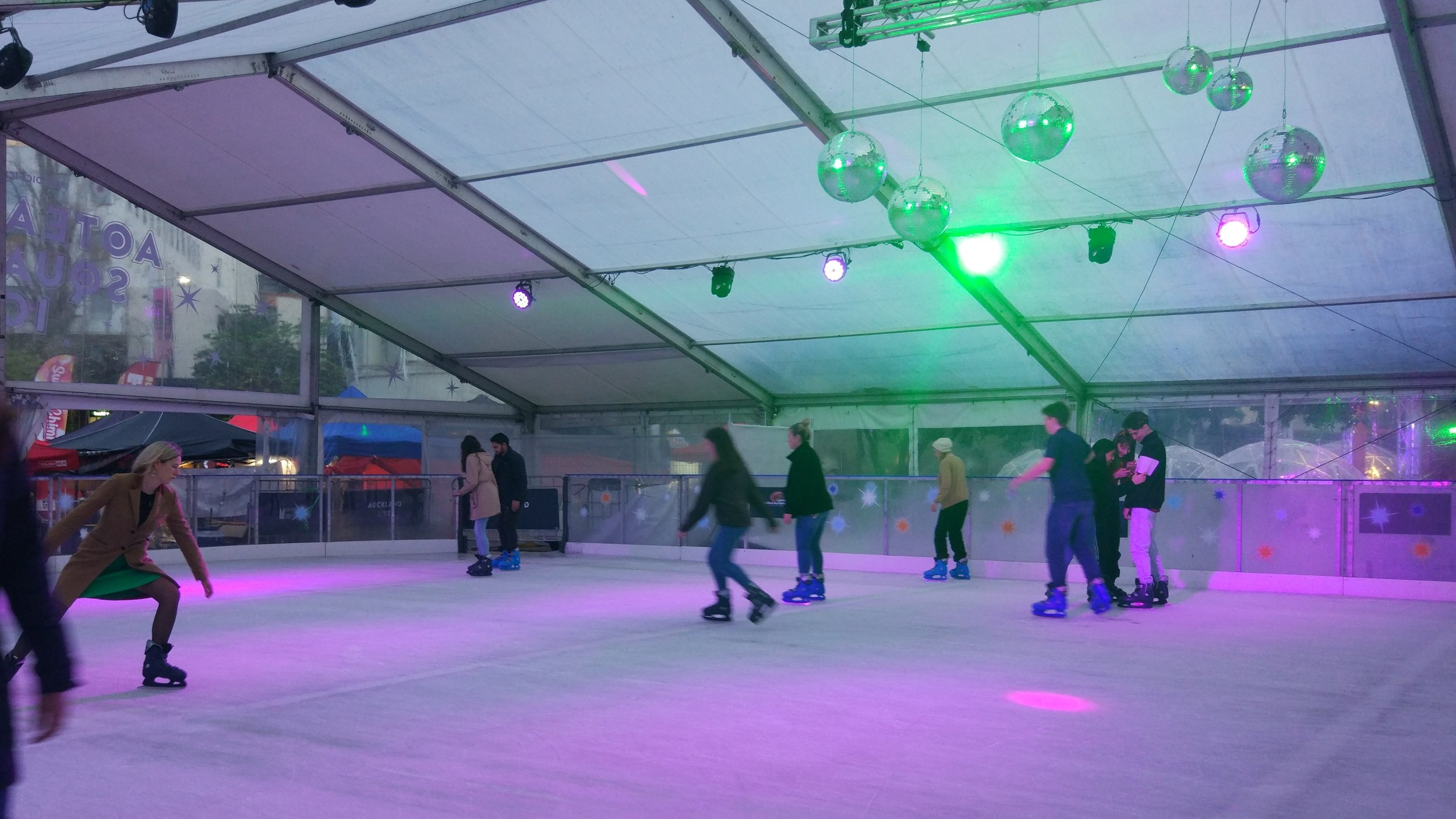 The temporary ice rink on aotea Square in AUckland