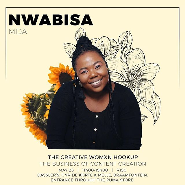 "Ladies! 🗣 #TheCreativeWomxnHookup is back again and this time we will be discussing The Business of Content Creation. How are we creating content, who are we creating it for and how can we monetize our content and platforms?  Our 1st speaker needs no introduction. @nwisewise is a Integrated Marketing Strategist and YouTuber. She completed a Bachelor of Social Sciences majoring in Media & Writing as well as Sociology, and then a Postgraduate Diploma in Management (Marketing) both from the University of Cape Town. ""I live what I consider quite an average life but since starting the YouTube channel @papculturesa alongside @_thembemathe and @bongekamasango , my life has most definitely elevated in life experiences. I love a good long laugh (and making others laugh too). I'm extremely fascinated and interested in the Media and Entertainment Industry and through my work (communication strategy and content producing) and as I grow and learn more, I hope to truly make an impact on the continent and be able to empower others to do the same."" Ticket purchase link in bio.  Drinks will be served and a goodie bag gifted to each attendee."