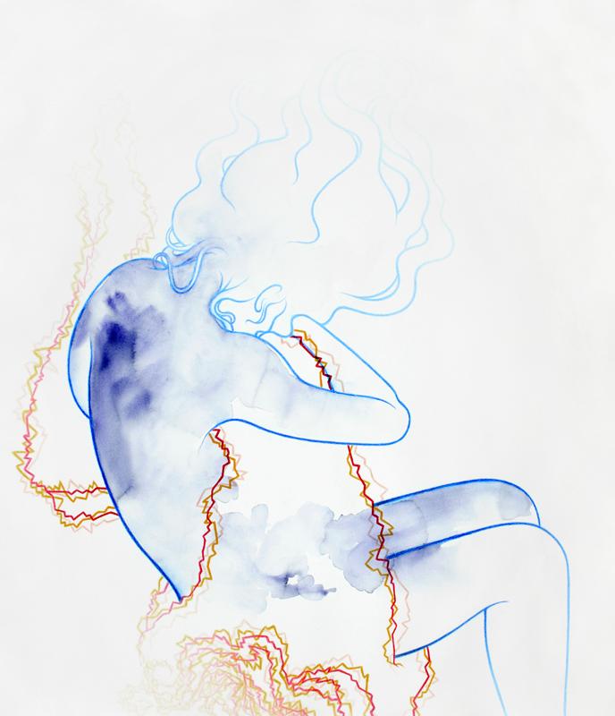 """Sorsa"" 95,5 x 82,6 cm, watercolour paint and watercolour pencil on paper, 2018"