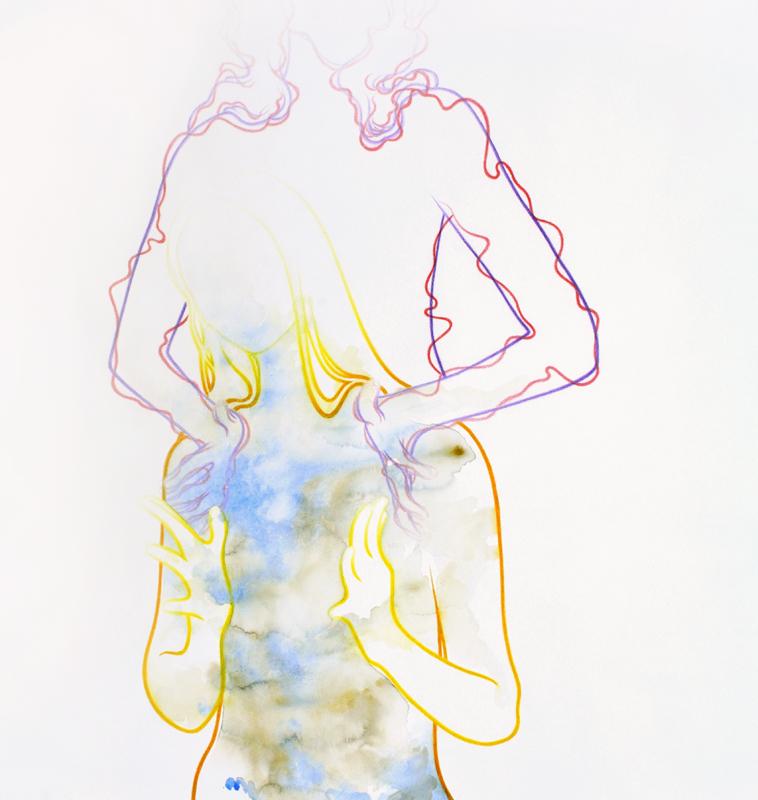 """treasure"" 95,6 x 90,6 cm, watercolour paint and watercolour pencil on paper, 2018"